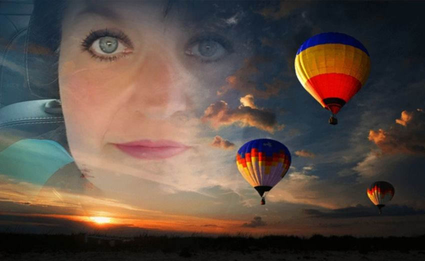 Dreamer Collage Art Adventure Air Vehicle Ballooning Festival Beauty In Nature Face Of A Woman Flying Hot Air Balloon Outdoors Sky Sunset Transportation