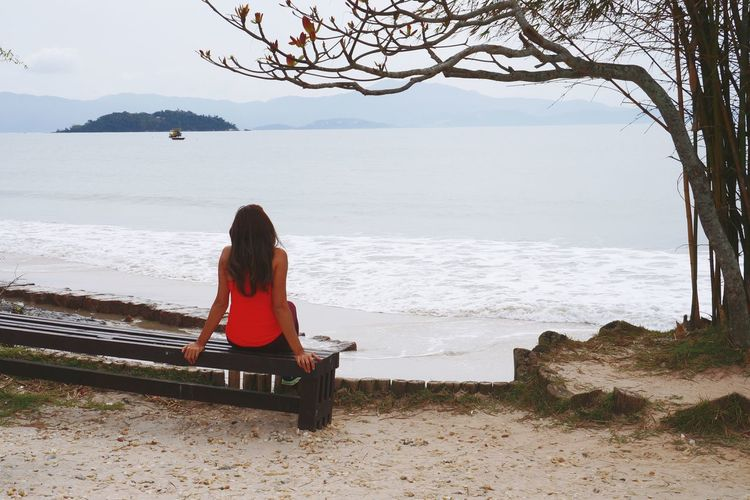 View Sitting Beach Loneliness Adult Sea One Person People Only Women Relaxation Women Water Day Real People Travel Destinations Brasil ♥ Place Florianópolis Con6 Sand Outdoors Nature Sky Young Women Horizon Over Water Young Adult