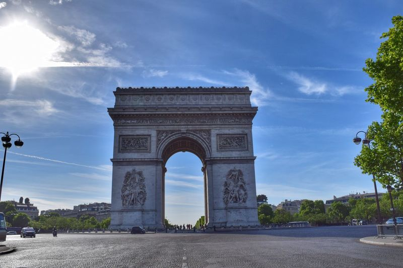 Low angle view of arc de triomphe