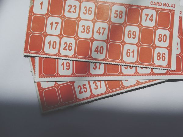 Bingo cards. Gambling Indoors  Red Number High Angle View No People Luck Leisure Games Close-up Chance Day Bingo Bingo Card Bingo Cards Lottery Lotto Gamble Game Games Leisure Activity