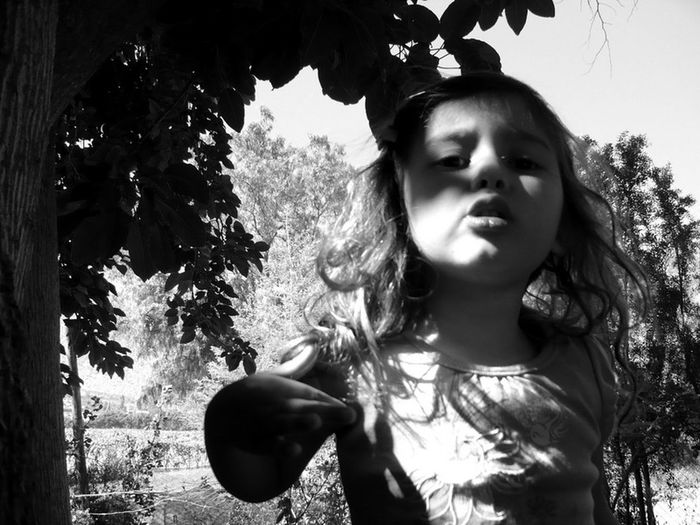 Childhood One Person Front View Portrait Not Smiling You're Talking To Me? Outdoor Photography Black & White Black And White Collection  Portrait Photography Bad Mood Badgirl♡ Summertime Children_collection