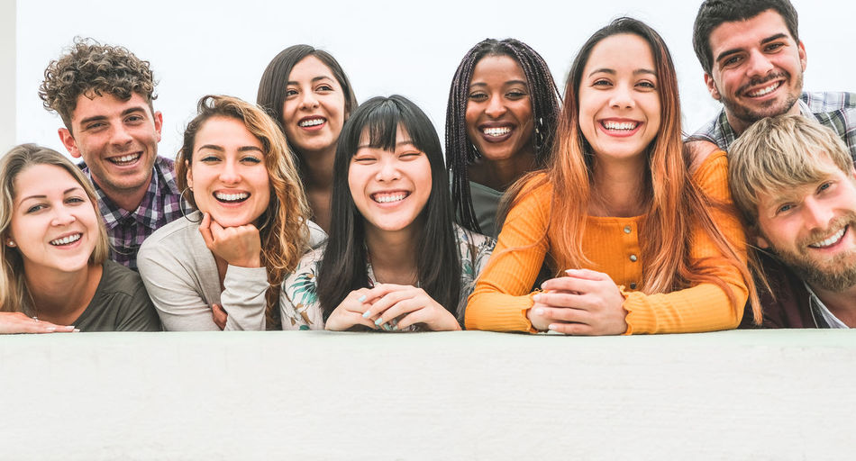 Portrait of young people smiling