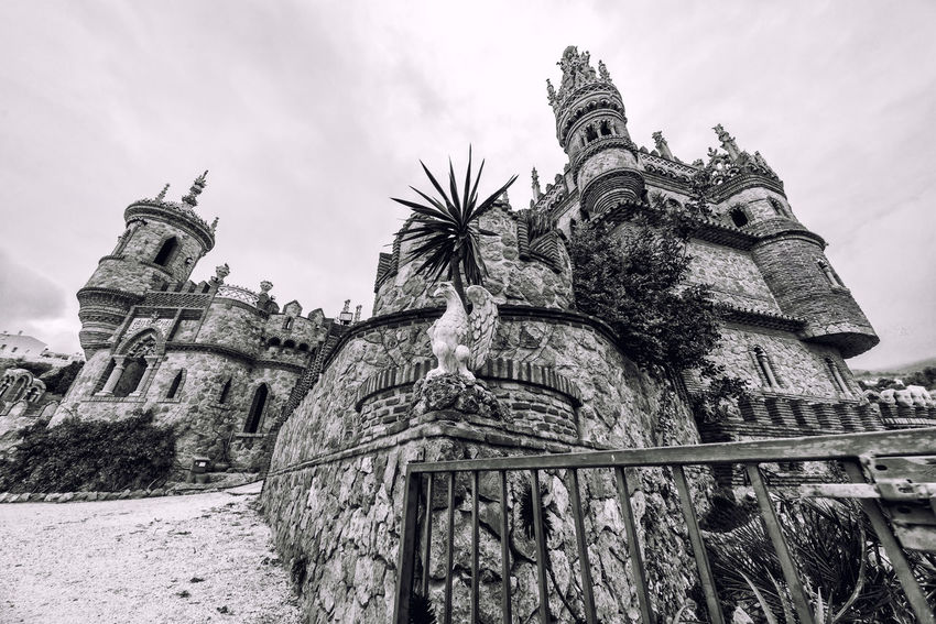 View of Colomares Castle. Black and white image. Castle dedicated to the explorer and navigator Christopher Columbus. Benalmadena town. Province of Malaga. Andalusia. Spain Andalucía Benalmádena, Malaga, Spain Black And White Byzantine Architecture Castle Christopher Columbus Cloud - Sky Colomares Castle Costa Del Sol Europe Exterior Gothic Architecture History Landmark Malaga Monument Monumental  Nobody Outdoors Palace Roman Architecture Sightseeing SPAIN Stone Travel Destinations