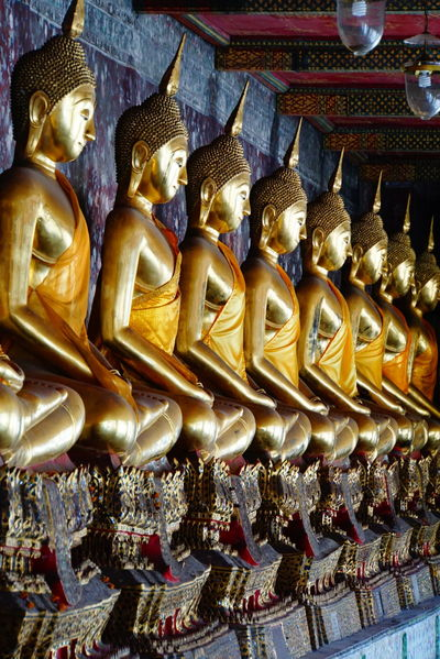 Thailand Buddha Temple Statue No People Golden Buddha Religion Place Of Worship Spirituality In A Row Sony A6000 Peaceful No Photoshop Bangkok Many Buddhas Golden Buddhas Wat Suthat