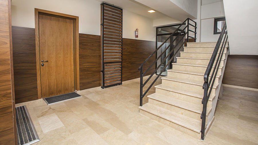 Wooden staircase of building