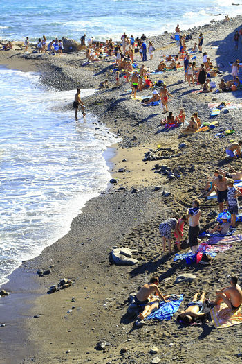 High angle view of people at beach