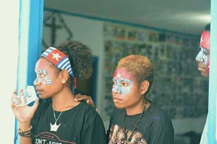 Two People Young Women West Papua People Papua Free Of Indonesia Colonial West Papua Want To Free Of Indonesia Colonial. West Papua Politic Of Freedom West Papua Flag Countrylife Patriotism West Papua Women Uniform Of West Papua Tradition Arts Culture And Entertainment Social Issues