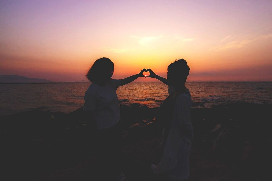 Sunset Silhouettes Sunset Heart ❤ Girls Summer2016 August 2016 Fukuoka,Japan