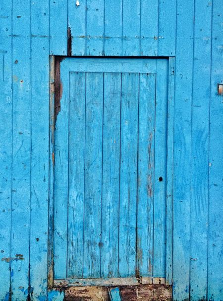 Wood - Material Door Blue Built Structure Outdoors Closed Day Building Exterior Architecture No People Plank Close-up Textured  Opening Entrance
