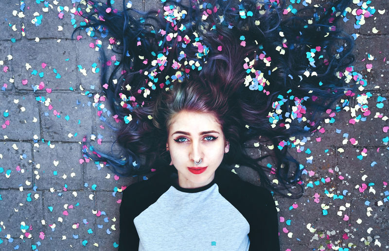 Creativity Imagination Adult Beautiful Woman Beauty Emo Front View Hairstyle Headshot High Angle View Leisure Activity Lifestyles Looking At Camera Lying On Back Mouth Open Multi Colored One Person Party Portrait Real People Standing Teenager Waist Up Young Adult Young Women