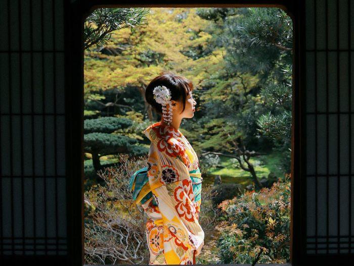 Kimono Traditional Clothing Kyoto Colorful Temple Beauty