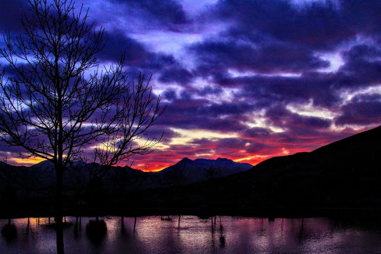Rose Canyon, Herriman, Utah. Reflection Lake Sunset Dramatic Sky Mountain Sky Scenics Beauty In Nature Nature Night Purple Tranquility Cloud - Sky Tree Tranquil Scene No People Silhouette Water Outdoors Star - Space