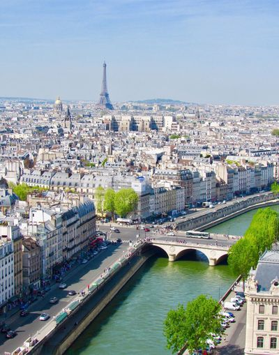 View From Above Eiffel Tower River Building Exterior Architecture City Built Structure Water Cityscape Building High Angle View River Connection Bridge Travel Destinations Nature Bridge - Man Made Structure Sky Outdoors Travel