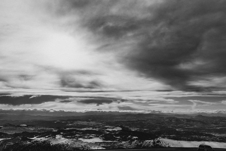 Beauty In Nature Blackandwhite Cloud - Sky Colorado Day Landscape Monochrome Mountain Nature No People Outdoors Pikes Peak Pikespeak Scenics Sky Snow Tranquil Scene Tranquility