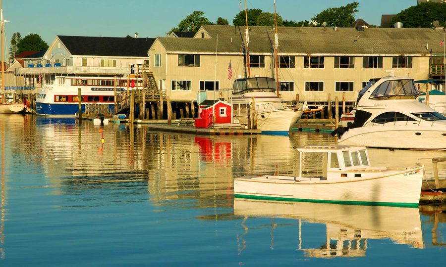 Boothbay Harbor Maine Architecture Building Exterior Built Structure Clear Sky Day Lake Mode Of Transport Moored Nature Nautical Vessel No People Outdoors Reflection Sky Transportation Travel Destinations Tree Water Waterfront