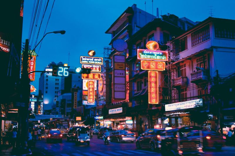 Chinatown, Bangkok. Chinatown Chinatown Bangkok Traffic Nightlife Neon Lights Neon Illuminated Building Exterior Architecture City Built Structure Street Text Lighting Equipment Transportation Motor Vehicle Night Mode Of Transportation City Life Car Building