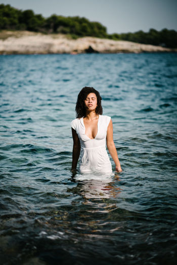 Young Woman In Sea