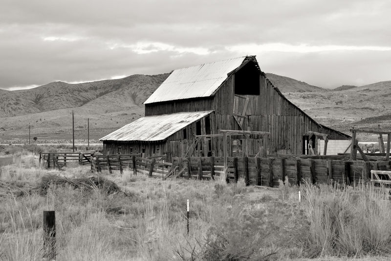 Old dilapidated wooden barn behind a wooden fence with mountains in the background in Susanville, Lassen County, California, USA. Americana Barn California Farm Lassen County Ranch Susanville USA Abandoned Architecture Black And White Building Exterior Built Structure Day Ghost Town Grass Landscape Mountain Nature No People Outdoors Scenics Sky Wood - Material