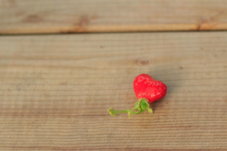 Mini heart strawberry on the wood table. Wood - Material Red Food Food And Drink Healthy Eating Table Freshness Close-up Still Life No People Wellbeing Fruit Indoors  High Angle View Selective Focus Plant Part Leaf Day Focus On Foreground Wood Grain Wood Brown Strawberry Red Heart Shape