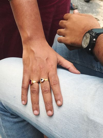 EyeEm Selects Human Body Part Human Hand Hand Body Part Women Real People Nail Polish People Adult Human Finger Lifestyles Ring Close-up Nail Jewelry Indoors  Finger Leisure Activity Two People Jeans