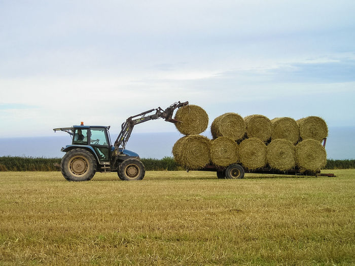 A tractor stacks bales of hay onto a trailer. Agriculture Bale  Beauty In Nature Day Farm Farming Field Field Grass Harvest Hay Hay Bale Lifting Machinery Nature No People Outdoors Rural Scene Sky Stack Stack Stacking Tractor Trailer