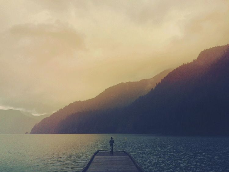 Sky Real People Mountain Water One Person Nature Beauty In Nature Full Length Cloud - Sky Scenics Lifestyles Mountain Range Leisure Activity Outdoors Standing Men Tranquility Silhouette Vacations Day