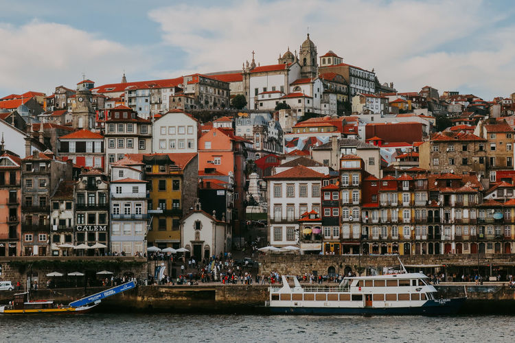 Building Exterior Architecture Built Structure Nautical Vessel Day River Cloud - Sky Travel Destinations City Outdoors TOWNSCAPE Porto Portugal Cityscape Colorful Waterfront Building Residential District
