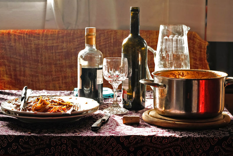 After lunch Food And Drink Drink Refreshment Glass Table Alcohol Wine Bottle Food Drinking Glass Indoors  Glass - Material Wineglass Container Still Life Transparent After Lunch Spaguetti Spaguetti Bolognese Coffee Liqueur Coffee Spirit Cooking Pot Spanish Food Afternoon Tea Good Life.