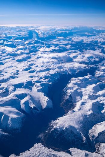 Fjord EyeEm Selects Aerial View Beauty In Nature Scenics - Nature Nature Blue Tranquil Scene Sky Tranquility Environment No People Snow Water Landscape Cold Temperature Winter Day Idyllic High Angle View Outdoors Snowcapped Mountain