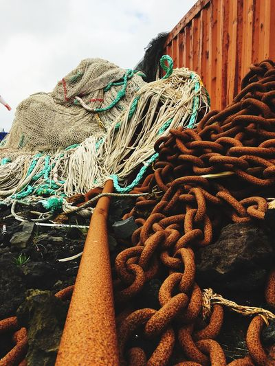 Chain No People Rope Day Fishing Industry Nature Fishing Net Pattern Fishing Outdoors Rusty Commercial Fishing Net Stack Metal