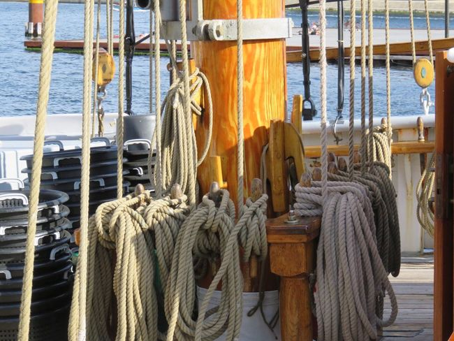 Rope Boat Rope On A Boat All Kinds Of Rope Outdoors Sunny Day Copenhagen, Denmark Harbour Travel Destinations