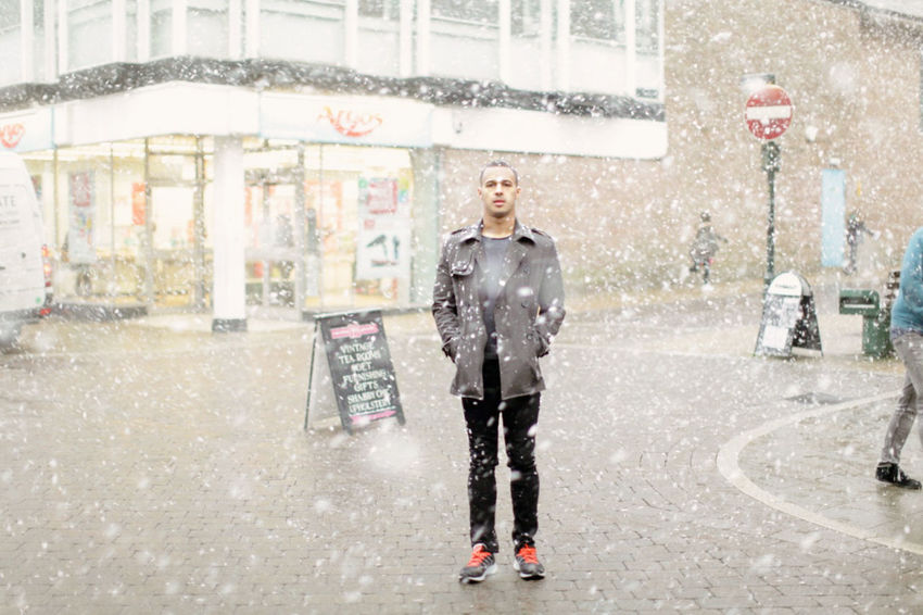 Buxton in the Snow Buxton Snowy Days... Winter Yorkshire Adult Adults Only Architecture City City Life Day Front View Full Length Handsome Looking At Camera One Man Only One Person Only Men Outdoors People Portrait Snow Snowy Standing Street Young Adult