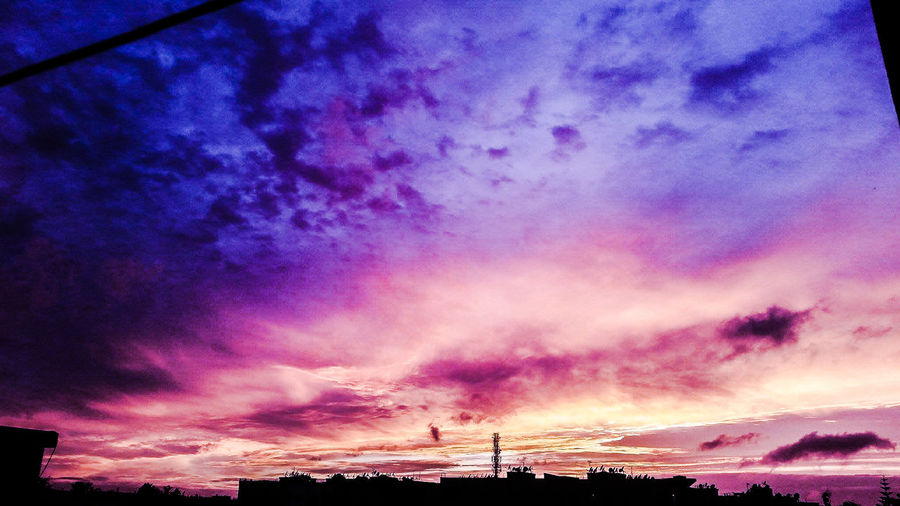 amazing sky colors Architecture Beauty In Nature Cloud - Sky Dramatic Sky Low Angle View Nature No People Outdoors Purple Scenics Silhouette Sky Sunset Tranquil Scene Tranquility