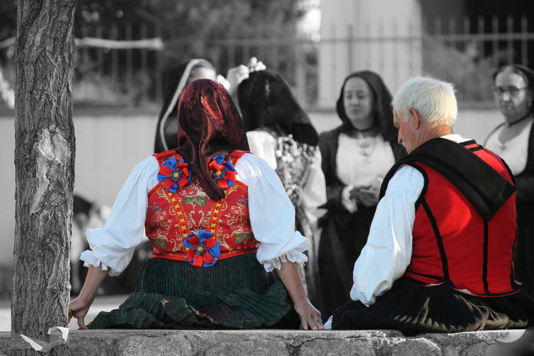 traditional dress for religious procession in Sardinia Ogliastra Lotzorai People Religious Processions Sardegna Traditional Dress