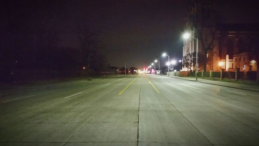 Nightime Vanishing Point Detroit Woodward Streetphotography