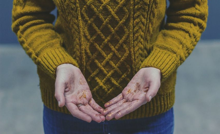 Close-up of dirty hands