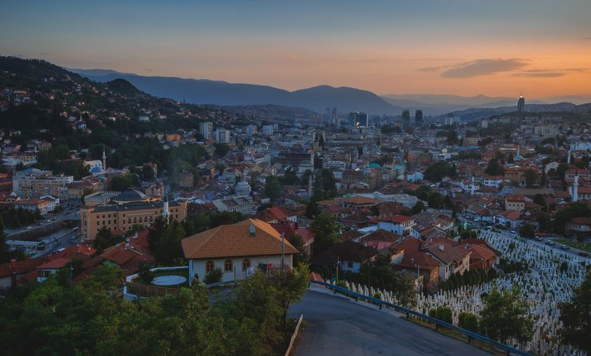 Sunset of city Sarajevo Bosnia And Herzegovina Sarajevo Tranquility Travel Destinations Mountain Cityscape Architecture High Angle View Mountain Range Building Exterior City No People Built Structure Landscape Sunset Outdoors Sky Residential Building Nature Beauty In Nature Night Aerial View Tree