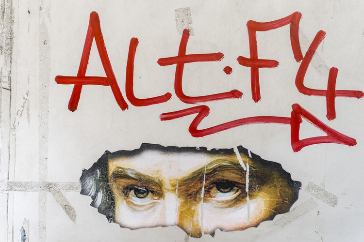 Graffiti with Beethoven image and text'Alt F4' in Berlin, Germany 'Alt+F4' Adult Adults Only Beethoven Berlin Close-up Color Image Day Drawing - Art Product Germany🇩🇪 Hacker Horizontal Human Body Part Human Eyes Inspiration Meme Men No People One Man Only Only Men Outdoors People Photography