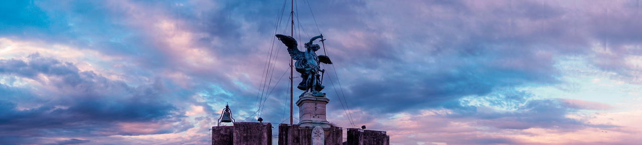 Archeology Architecture Bronze Statue Building Exterior Built Structure Castel Sant'Angelo Castle Cloud Cloud - Sky Cloudy Colorful Colorful Sky And Clouds Dramatic Sky Fortress Italy Low Angle View Roma Sky Statue Tall - High Travel Destinations Weather