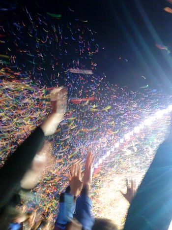 Close-up Color Of Life Colorful Confetti Crowd Enjoyment Excitement Fun Human Body Part Human Hand Large Group Of People Night People Real People Sky