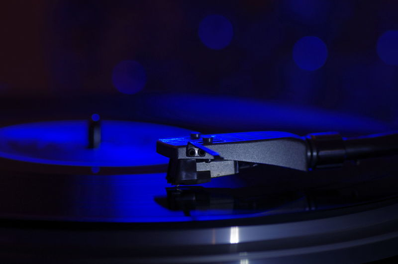 Close-up of turntable in darkroom