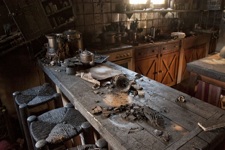 After The Fire Burned Damaged Architecture Abandoned Burned Items Burned Objects Burned Stuff Damaged Damaged Building Damaged By Fire Damaged By Smoke Damaged Stuff Domestic Room High Angle View Household Equipment Indoors  Kitchen Kitchen Utensil No People The Past