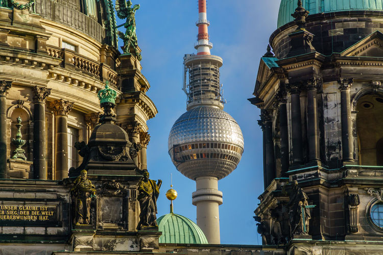 Building Exterior Architecture Travel Destinations Built Structure Tourism City Travel Building Sky Dome Nature Religion No People Belief Tower History Place Of Worship The Past Architectural Column Spire  Skyscraper Berlin Alexanderplatz Tv Tower Berlin Church