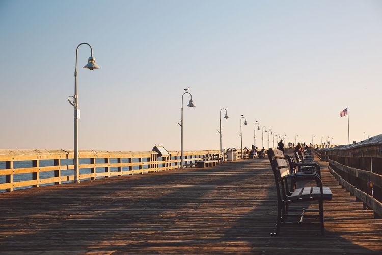 California Light Pole Pacific Ventura Pier Benches Ocean Relaxation Sunset California Dreamin
