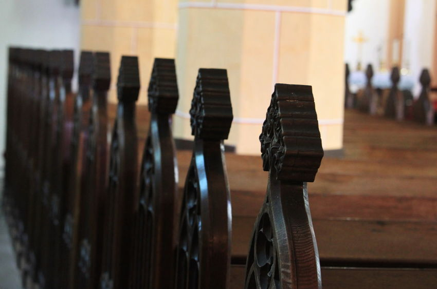 Slovenia Church Interior Day Focus On Foreground In A Row Indoors  No People Radovljica Religion September 2018 Spirituality Wood - Material
