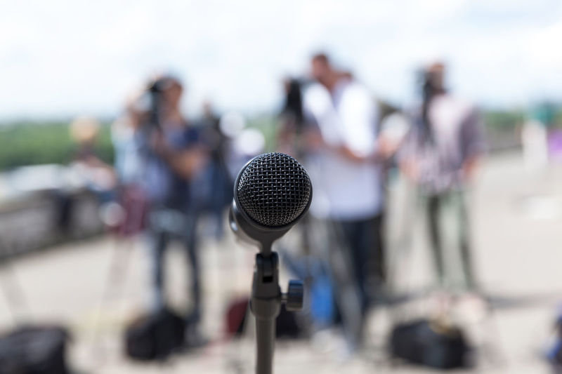 Close-up of microphone at event