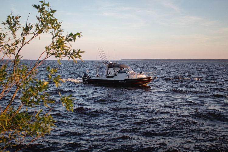 Fishing Boat Sea Against Sky