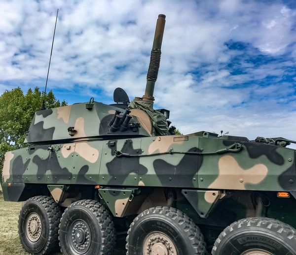 Armored tank against sky