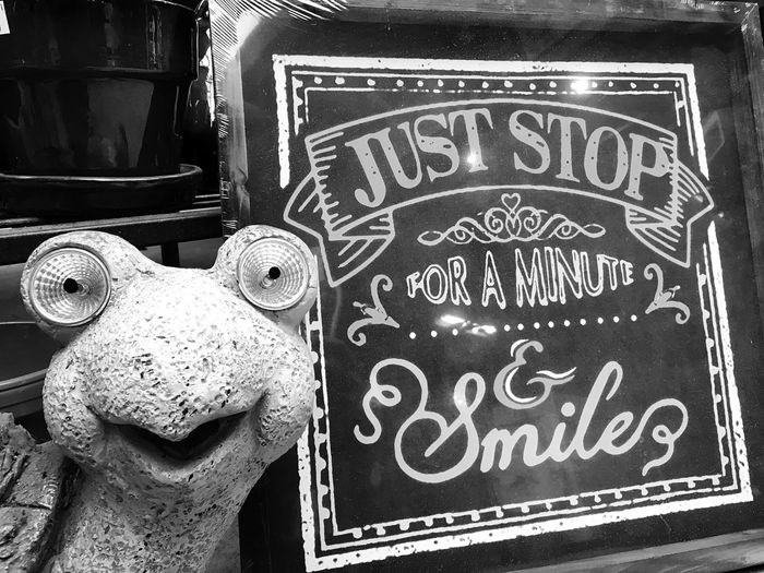 Positive message Text Communication No People Day Outdoors Close-up Horizontal Mobile Photography Monochrome Photography