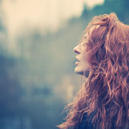 Ready to take a breath Cold Temperature Autumn Red Hair Bokeh Light Long Hair Focus On Foreground One Person Young Adult Outdoors Nature EyeEm Ready   Day People